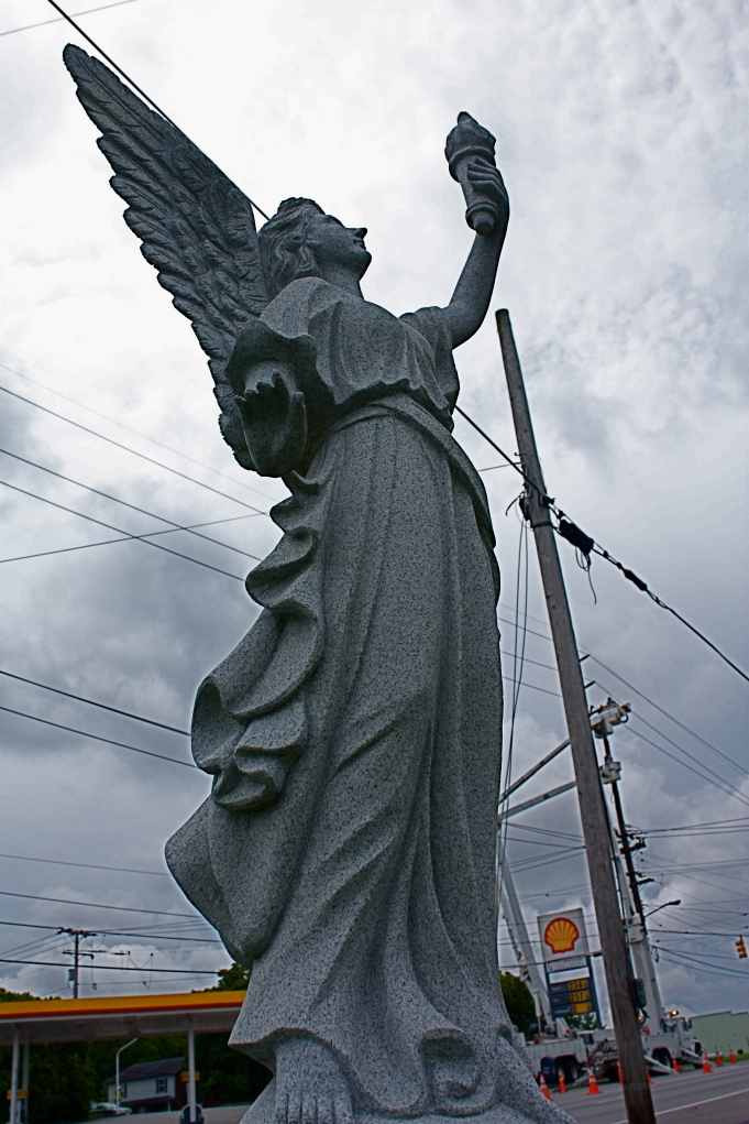 "Cemetery monument on Gallatin Rd. - I loved it so much I wanted it to be in the story, raising an ""ice cream cone of hope"" for our difficult times. Needless to say, that idea never made it."