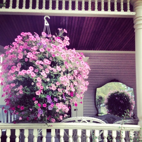 VT porch with petunias