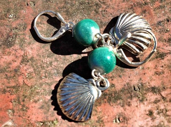 Scallop shell earrings, handmade by Mom Green