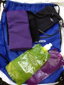String bags, passport purse, camp towel, water bottles