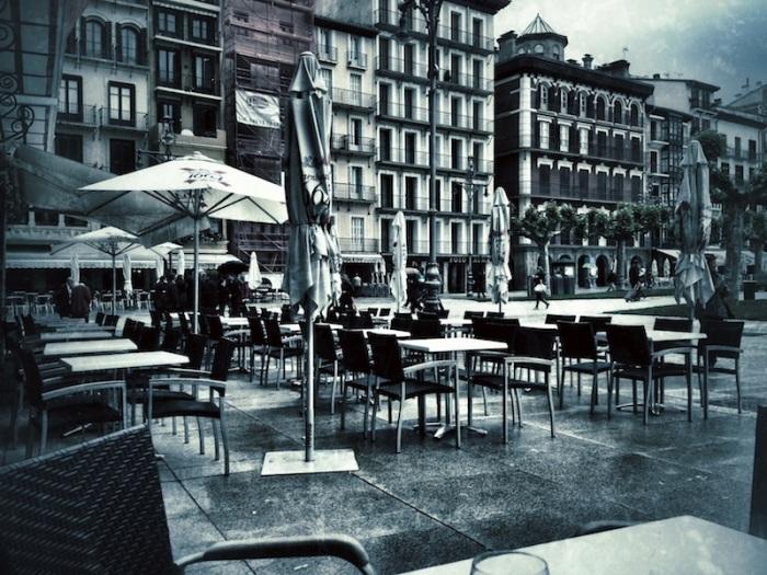 Rainy Pamplona Plaza