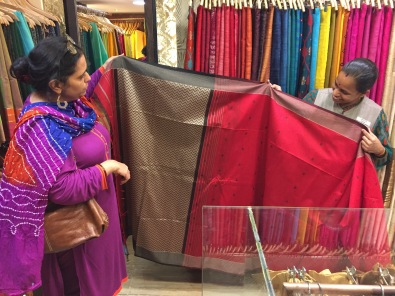 Shopping for saris